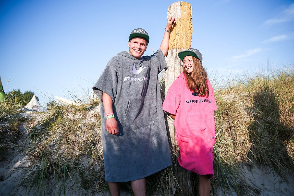 Atlantic Shore | Surf Poncho | Basic | Grey and Pink